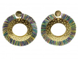 Mardi Gras Tassel Ring Disc Post Earrings