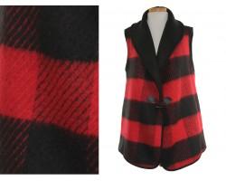 Red Black Plaid Sleeveless Vest