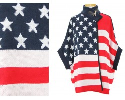 American Flag Pattern Sleeved Poncho