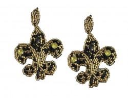 Black Gold Seed Bead Fleur De Lis Dangle Post Earrings