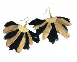 Black Gold Feather Fan Hook Earrings