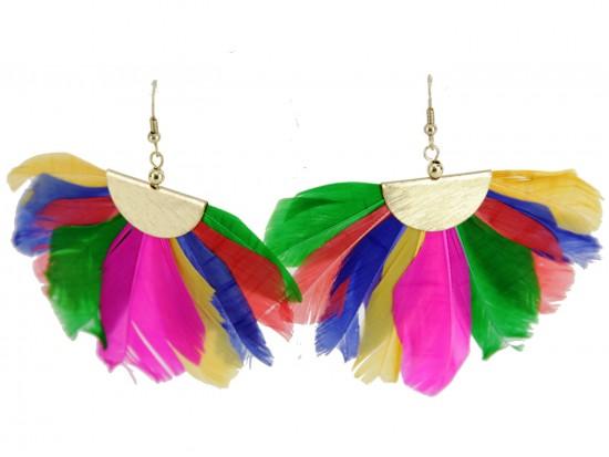 Multi Feather Fan Hook Earrings