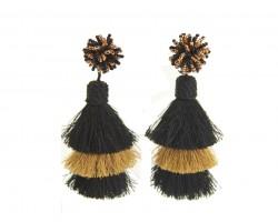 Black Gold 3 Tier Tassel Seed Bead Post Earrings