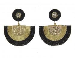 Black Gold Crescent Cloth Tassel Post Earrings