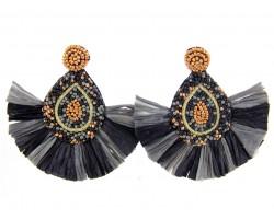 Black Gold Seed Bead Teardrop Tassel Post Earrings