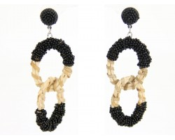 Black Gold Cloth Seed Bead Wrap Rings Post Earrings