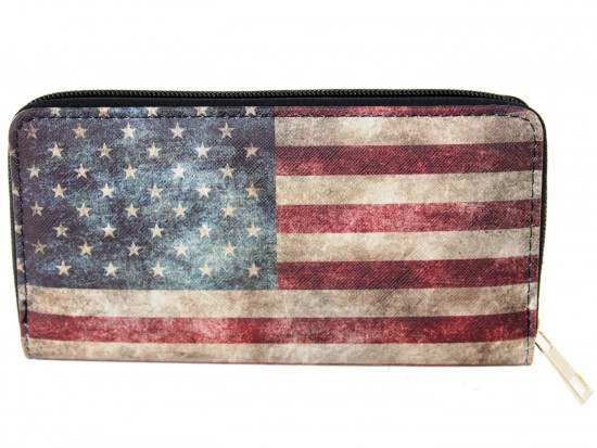 USA Flag Distressed Zipper Wallet