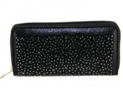 Black Crystal Zipper Wallet