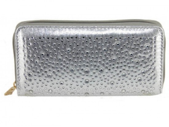 Silver Crystal Zipper Wallet