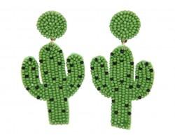 Green Seed Bead Cactus  Dangle Hook Earrings