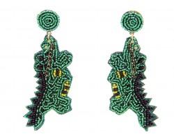 Green Seed Bead Alligator Dangle Hook Earrings