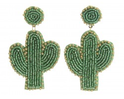 Green Seed Bead Cactus Dangle Post Earrings