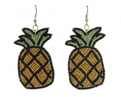 Gold Seed Bead Pineapple Dangle Post Earrings