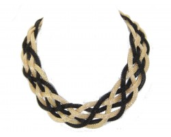 Black Gold Braided Mesh Necklace