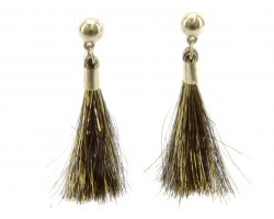 Black Gold Tinsel Tassel Post Earrings