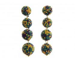 Mardi Gras Scattered Seed Bead Ball Post Earrings