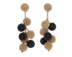 Black Gold Seed Bead Ball Vine Post Earrings