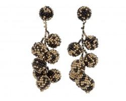 Black Gold Scattered Seed Bead Vine Post Earrings