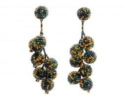 Mardi Gras Scattered Seed Bead Vine Post Earrings