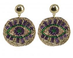 Mardi Gras Seed Bead Evil Eye  Post Earrings