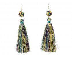 Mardi Gras Cloth Tassel Seed Bread Post Earrings