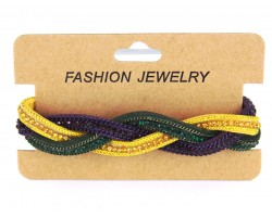 Mardi Gras Crystal Braided Leather Magnetic Bracelet