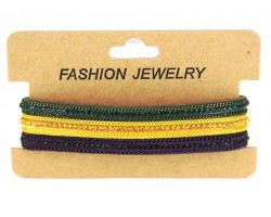 Mardi Gras Crystal Leather Magnetic Bracelet