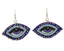 Blue Seed Bead Eyes Hook Earrings
