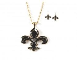 Black Gold Fleur De Lis Crystal  Necklace Set