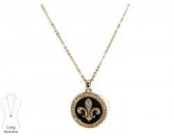 Black Gold Crystal Round Fleur De Lis Necklace