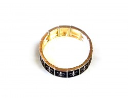 Black Gold Fleur De Lis Square Link Stretch Bracelet