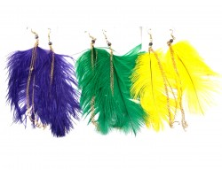 Mardi Gras Feather Earrings Assorted Pack
