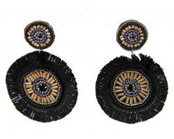 Black Gold Round Tassel Post Earrings