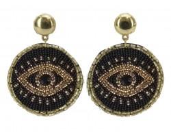 Black Gold Seed Bead Evil Eye Post Earrings
