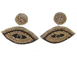 Gold Black Seed Bead Evil Eye  Post Earrings