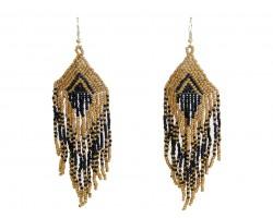 Black Gold Seed Bead Feather Shape Hook Earrings