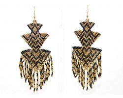 Black Gold Seed Bead Triangle Shape Hook Earrings