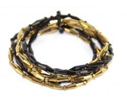 Black Gold Beaded 6 Bracelet Set
