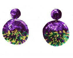 Mardi Gras Sequin Round Post Earrings