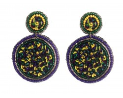 Mardi Gras Seed Bead Round Post Earrings