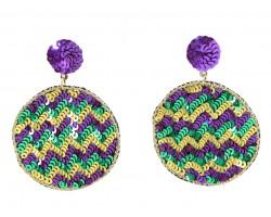Mardi Gras Sequin Chevron Round Post Earrings