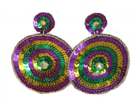 Mardi Gras Sequin Circles Round Post Earrings