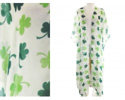 Green Clover Extra Long White Cardigan