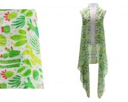 Green Cactus White Long Sleeveless Cardigan