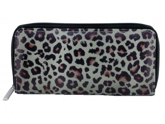 Brown Leopard Pattern Zipper Wallet
