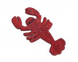 Red Crystal Crawfish Pin Brooch