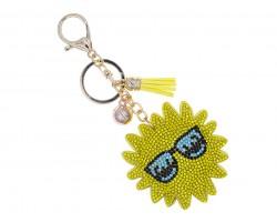 Yellow Crystal Sun Tassel Puff Key Chain