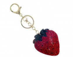 Red Strawberry Crystal Puffy Key Chain