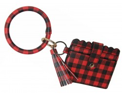 Red Black Plaid Keychain Wallet Ring Bracelet