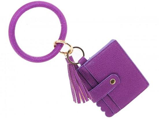 Purple Keychain Wallet Ring Bracelet